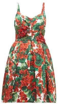Dolce & Gabbana Puffed Geranium-print Cloque Mini Dress - Red Multi