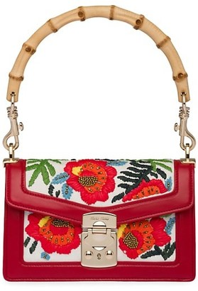 Miu Miu Confidential Floral-Embroidered Leather & Bamboo Shoulder Bag