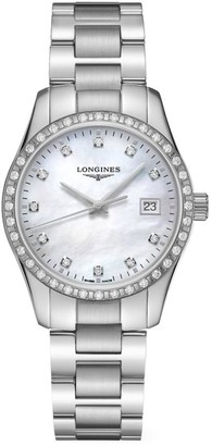 Longines Conquest Classic 34MM Diamond Stainless Steel Watch