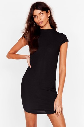 Nasty Gal Womens Up to Your Neck Ribbed Bodycon Dress - Black - 6, Black