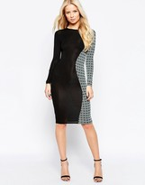 Club L Side Panel Midi Dress with Geo Side Panel