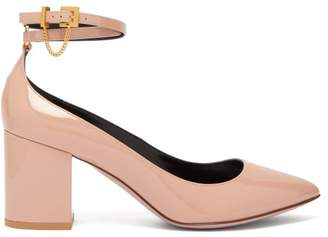 Valentino Chain-embellished Pantent-leather Pumps - Womens - Nude