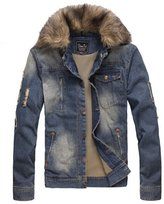 Partiss Mens Fur Collar Denim Coat
