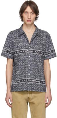 A.P.C. Navy Poplin Paisley Shirt