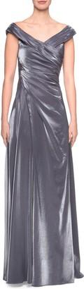 La Femme Ruched Satin A-Line Gown