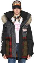 DSQUARED2 Hooded Patchwork Ski Jacket W/ Fur