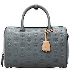 MCM Women's Essential Boston Monogram Leather Top Handle Bag