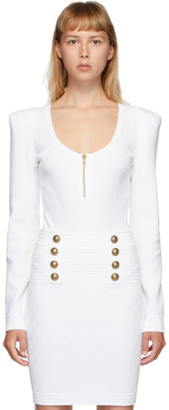 Balmain White Diamond Knit Long Sleeve Bodysuit