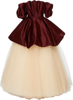 Elizabeth Kennedy Off The Shoulder Gown With Bubble Peplum And Tulle Skirt