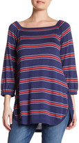 Cullen Stripe Off Shoulder Silk Blend Bardot Pullover