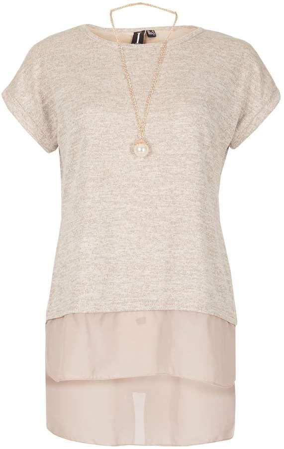Izabel London Sheer Hem Necklace Top