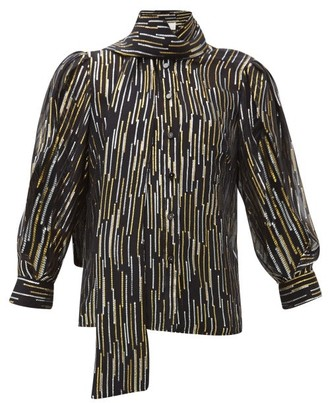 Peter Pilotto Metallic Fil-coupe Silk-blend Blouse - Womens - Black