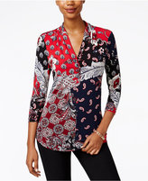 Charter Club Pleated-Neck Multi-Print Top, Only at Macy's