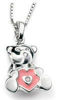 Ice Sterling Silver and Diamond Teddy Bear Heart Necklace for Children