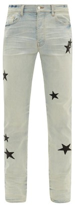 Amiri Leather Star-applique Cotton-blend Jeans - Mens - Light Blue