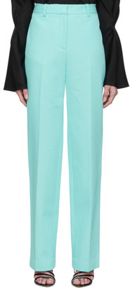 Victoria Beckham Blue High-Waisted Slim Leg Trousers