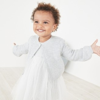 The White Company Cropped Sparkle Cardigan, Grey, 0-3mths