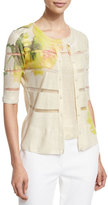 Escada Half-Sleeve Carnation-Print Cardigan, Fantasy