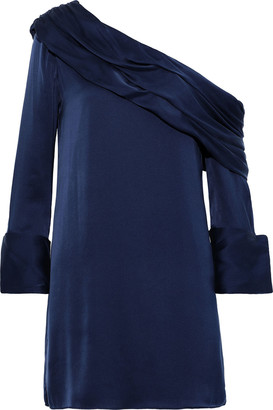 Alice + Olivia Serina One-shoulder Silk-blend Satin Mini Dress