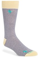 Lorenzo Uomo Men's Flamingo Mini Stripe Crew Socks
