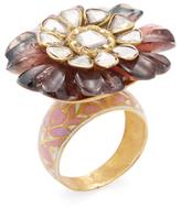 Amrapali 18K Yellow Gold, Tourmaline & 1.60 Total Ct. Diamond Cocktail Flower Ring