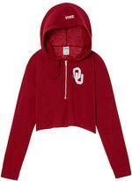PINK University Of Oklahoma Varsity Cropped Half-Zip Hoodie