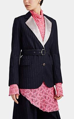 Sies Marjan Women's Terry Pinstriped Wool Belted Blazer - Navy