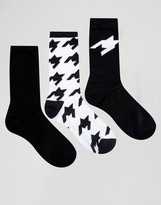 Asos Socks With Houndstooth Design 3 Pack