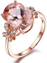 Kardy 2015 Christmas Gifts Presents Prime Sale Deals Fashion Jewelry Morganite Gemstone Solid 14K Rose Gold Diamonds Engagement Wedding Band Ring Sets for Women