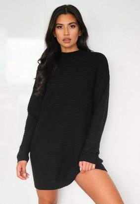 Missguided Black Rib Knit High Neck Sweater Dress