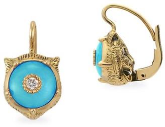 Gucci Le Marche Des Merveilles 18K Yellow Gold Feline Head Turquoise & Diamond Drop Earrings