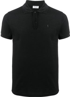 Saint Laurent Embroidered Logo Polo Shirt