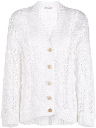 Brunello Cucinelli Oversized Open-Knit Cardigan