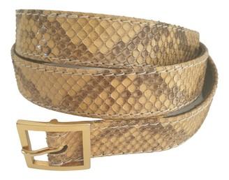 Saint Laurent Beige Python Belts