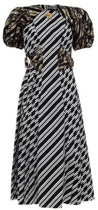 Chopova Lowena Storm Puffed-sleeve Flocked-stripe Taffeta Dress - Black Multi
