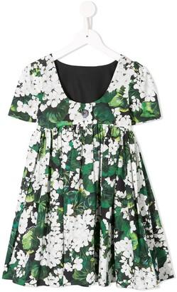 Dolce & Gabbana White Geranium Printed Dress