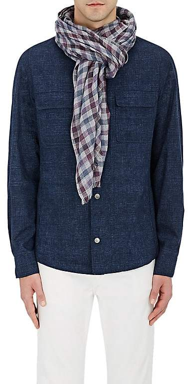 Loro Piana Men's Checked Cashmere-Silk Scarf