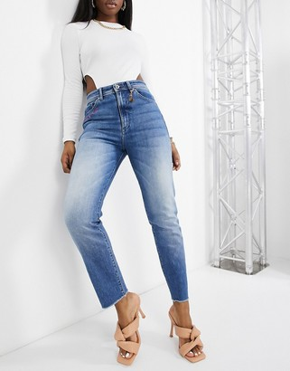 Salsa x Barbie embroidered elegant high waist jeans with silhouette defining technology in mid wash blue