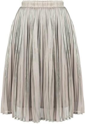Muza Pleated Knee-Length Skirt In Grey