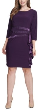 Jessica Howard Plus Size Satin-Ruffle Sheath Dress