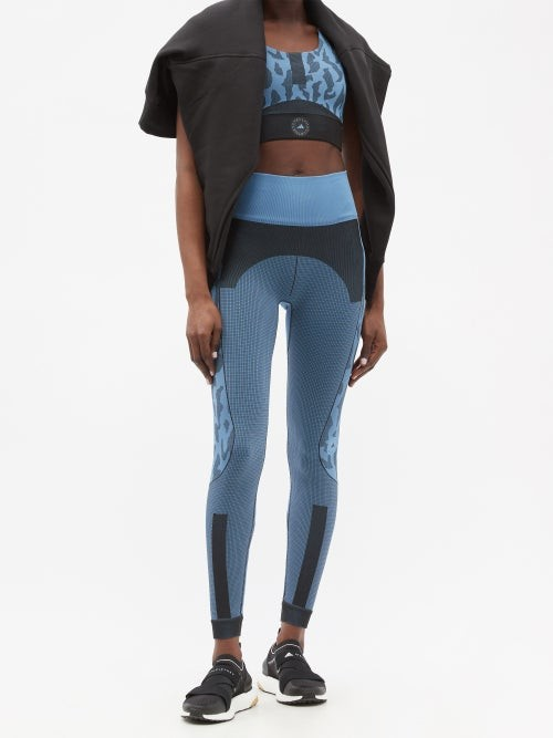 Thumbnail for your product : adidas by Stella McCartney Truepurpose Seamless Recycled Fibre-blend Leggings - Blue