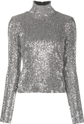 AMI Paris Sequinned Turtle Neck Top