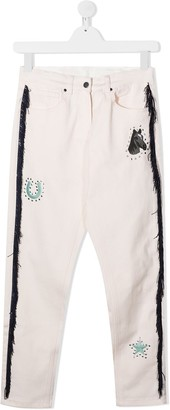 Stella McCartney Kids TEEN Horses and Fringes mom-fit jeans
