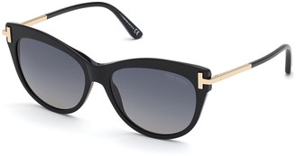 Tom Ford Kira Acetate/Metal Cat-Eye Sunglasses, Black