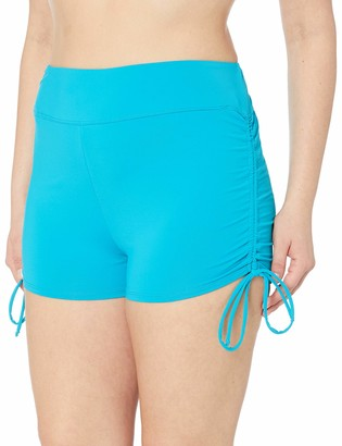 BEACH HOUSE WOMAN Women's Plus-Size Solid Boy Short Swimsuit Bottom with Adjustable Side Ties