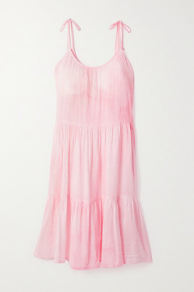 HONORINE Daisy Tie-dyed Crinkled Cotton-gauze Dress - Baby pink