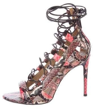 Aquazzura Amazon Snakeskin Sandals