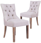Beige York Upholstered Dining Chairs (Set of 2)