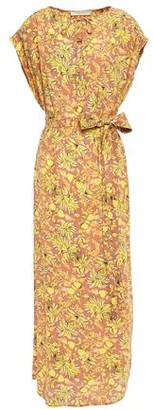 Vanessa Bruno Belted Gathered Floral-print Crepe Midi Dress