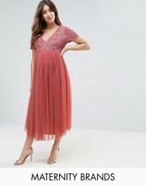 Maya Maternity Sequin Embellishment Midi Dress With Tulle Skirt
